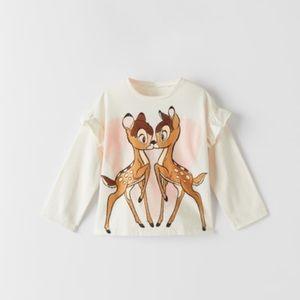 NWT 6-9 month Zara Bambi Disney shirt